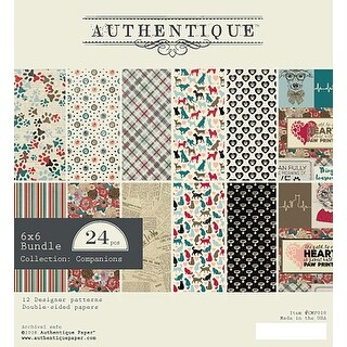 "Authentique Double-Sided Cardstock Pad 6""X6"" 24/Pkg-Companions, 6 Designs/4 Each"