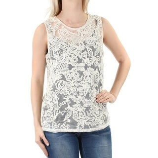 LUCKY BRAND $129 Womens New 1032 Ivory Sheer Embroidered Sleeveless Top S B+B