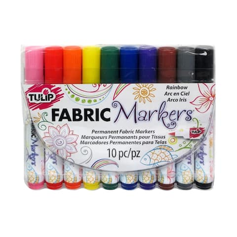 Tulip Fabric Marker Set Brush Tip 10pc Rainbow