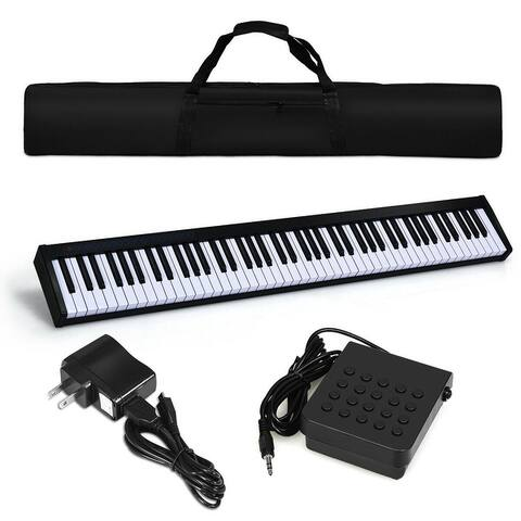 Costway 88 Keys Portable Digital Piano w/ Power Supply Sustain Pedal &