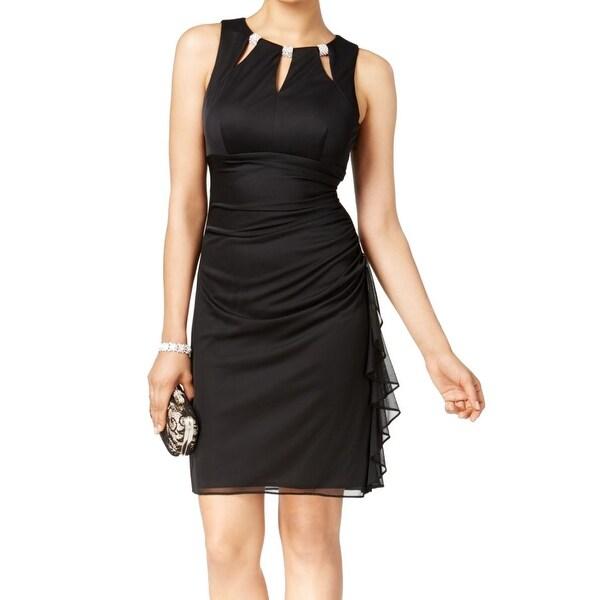 a7dbdca4 Betsy & Adam Black Womens Size 6 Embellished Ruffle Sheath Dress
