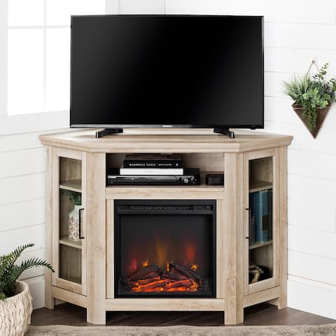 48-inch Corner Two Door Fireplace TV Stand Console