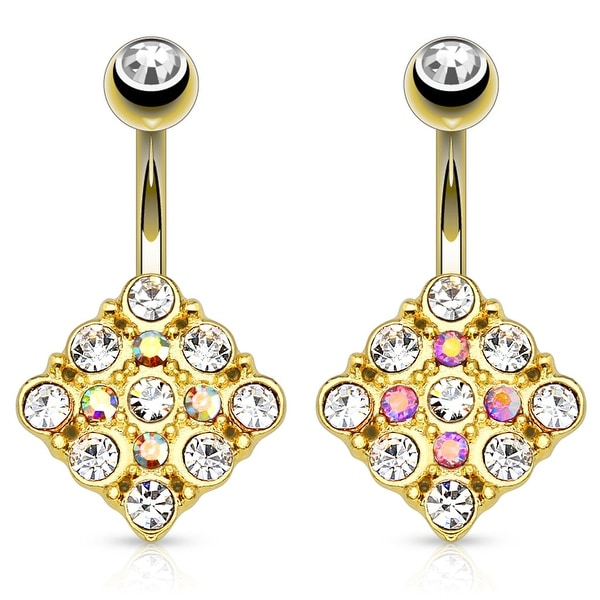 Diamond Shape With Paved Czs gold-plated 316L Surgical Steel Navel Ring (Sold Individually)