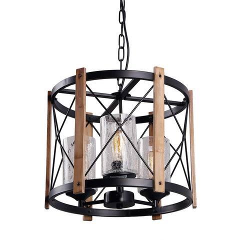 3 light wood & glass black pendant light fixture