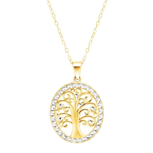 Eternity Gold Tree of Love Two-Tone Pendant in 10K Gold