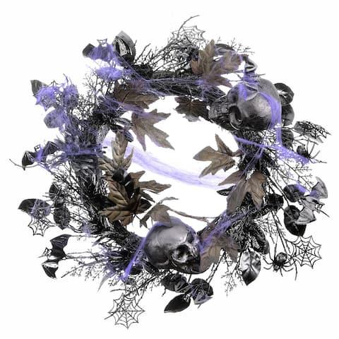 """24"""" Bats, Skulls and Spiders Halloween Wreath"""