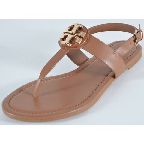 Tory Burch Royal Tan CLAIRE Flat Leather Thong Sandals Shoes Size 8