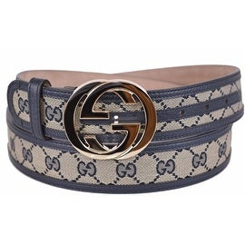 New Gucci Women's 114876 Beige Blue Canvas Leather GG Guccissima Belt 28 70