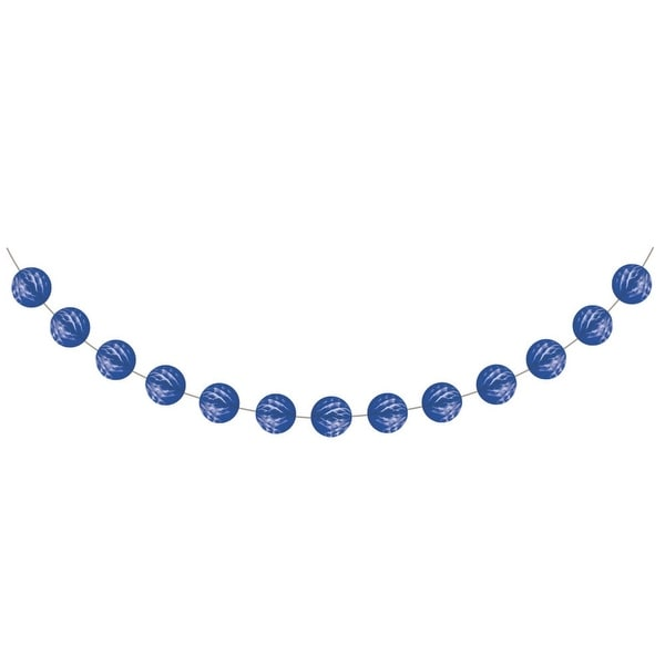 Club Pack of 12 Blue and White Cobalt Mini Honeycomb Garland 9'