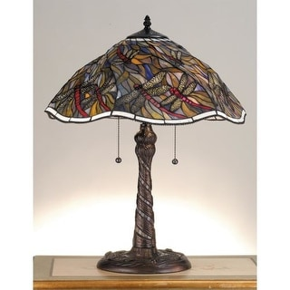 Meyda Tiffany 82310 Stained Glass / Tiffany Table Lamp From The Spiral  Dragonfly Collection