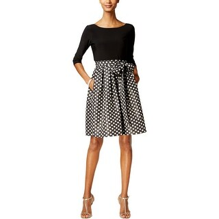 Jessica Howard Womens Petites Cocktail Dress Polka Dot Metallic