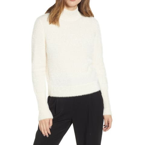 Leith White Ivory Womens Size Medium M Stand Collar Knitted Sweater