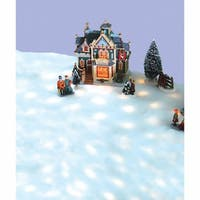 5' Pre-Lit Snow Blanket For Mantle or Christmas Village Display - Clear Lights - WHITE