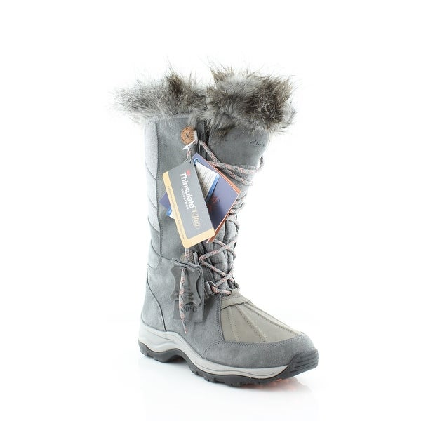 Clarks Wintry Cold-Weather Women's Boots Grey Suede - 5