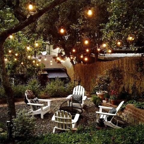 50ft 15/24 Sockets Patio String Lights with Vintage Light Bulbs