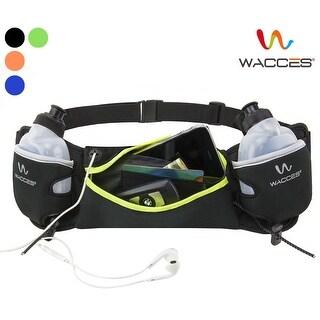 Wacces Running Belt Waist Hydration Belt with 2 BPA Water Bottles