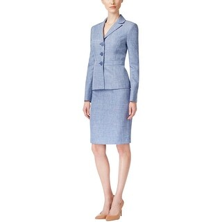 Le Suit Womens Lake Cuomo Skirt Suit Heathered Notch Collar