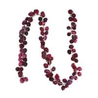 5' Decorative Wine Burgundy Glitter Mini Pine Cone Artificial Christmas Garland - Unlit - RED