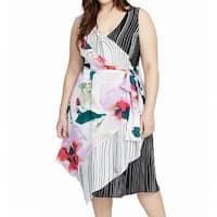 Rachel Roy White Women's Size 3X Plus Stripe V-Neck Sheath Dress