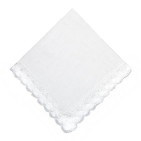 CTM® Women's Nosegay Hand Made Bobbin Lace Linen Handkerchief - one size