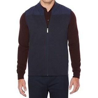 Perry Ellis NEW Blue Mens Size 2XL Zip-Front Mix Media Vest Jacket