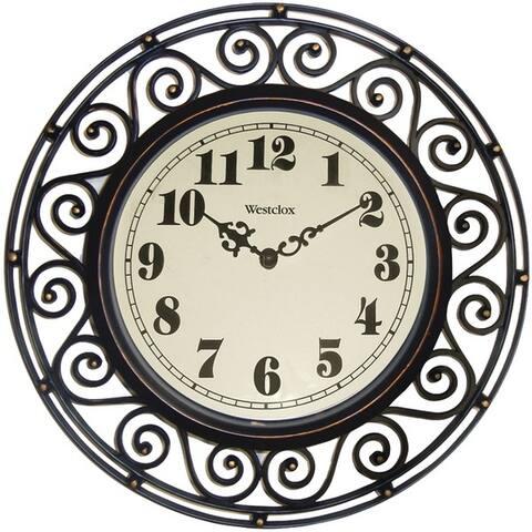 "Westclox 32021 12"" Round Filigree Rubbed Bronze Finish Clock"