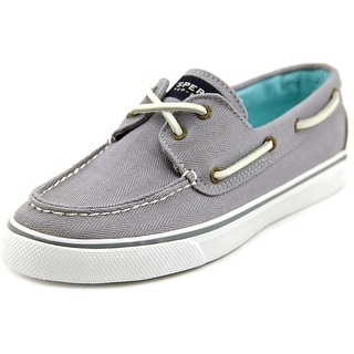 Sperry Top Sider Bahama Women Moc Toe Canvas Gray Boat Shoe