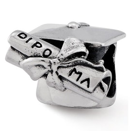 Sterling Silver Reflections Graduation Cap & Diploma Bead (4mm Diameter Hole)