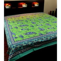 Cotton Paisley Floral Tapestry Bedspread Tablecloth Throw Beach Sheet Bed Sheet Green Twin Full