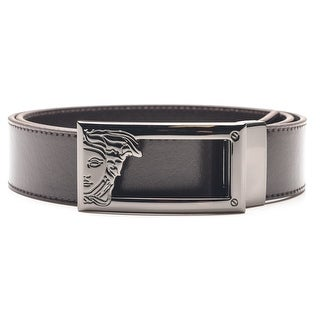 Versace Collection Men's Medusa Steel Buckle Leather Belt Brown (4 options available)