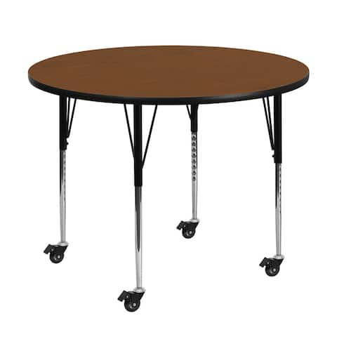 "Offex 42"" Mobile Round Activity Table with 1.25"" Thick High Pressure Oak Laminate Top and Standard Height Adjustable Legs"