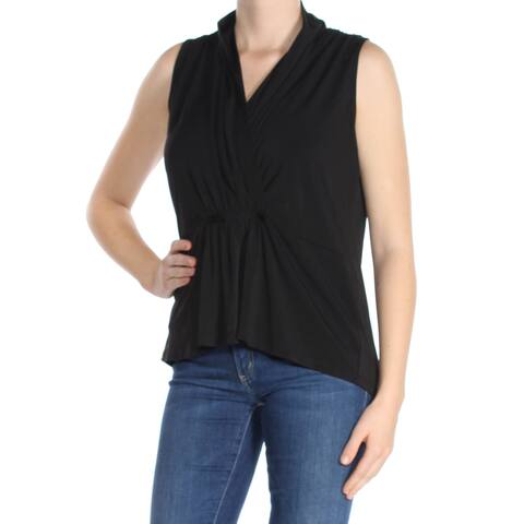 BAR III Womens Black Sleeveless V Neck Peplum Top Size: M
