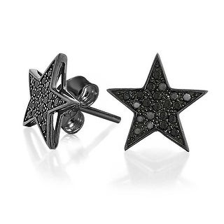 Bling Jewelry Sterling Silver Black Star Micropave CZ Stud Mens Earrings