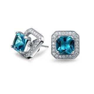 2.6 CTW Square Ear Jacket Stud Earrings Simulated Blue Topaz CZ Rhodium Plated
