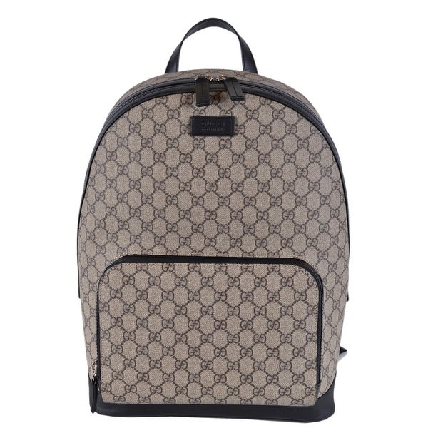 93e7fc0bf Gucci Beige Black GG Guccissima Supreme Canvas Backpack Rucksack Bag -  Beige/Brown