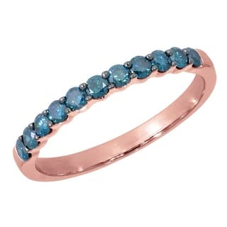 Prism Jewel 1 2ct Round Blue Color Diamond Stackable Band 2 55mm Wide