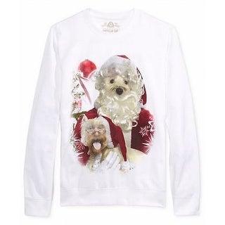 American Rag NEW White Mens Size Medium M Santa Dog Crewneck Sweater