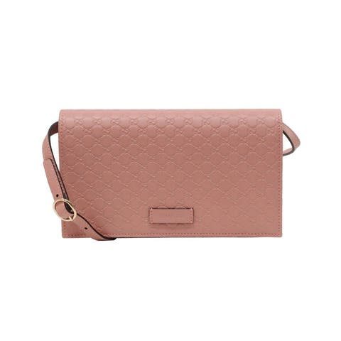 Gucci Women's Soft Pink Leather Crossbody Wallet Bag 466507 5806 - One Size