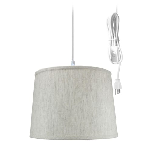 """1 Light Swag Plug-In Pendant 14""""w Textured Oatmeal Shade, 17' White Cord"""