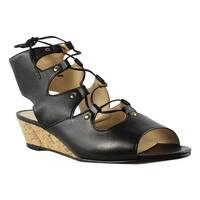 Amalfi Womens Prod43540101 Black Wedge Sandals Size 6.5