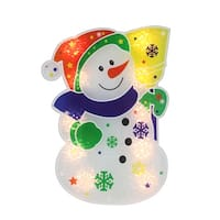 """12.5"""" Lighted Holographic Snowman Christmas Window Silhouette Decoration - RED"""