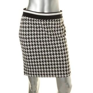 Kensie Womens Juniors Contrast Trim Houndstooth Pencil Skirt - S