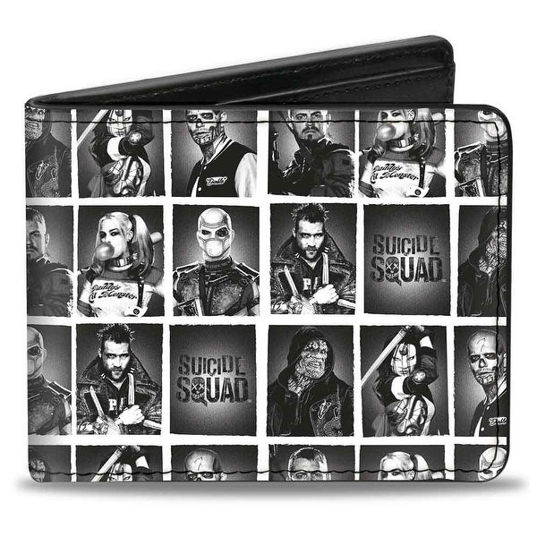 Suicide Squad 7 Character Pose Blocks White Grays Black Bi Fold Wallet - One Size Fits most