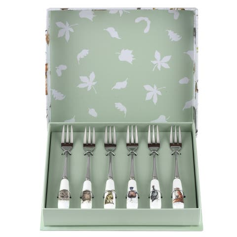 Royal Worcester Wrendale Designs Set of 6 Pastry Forks (Assorted) - 6 Inches
