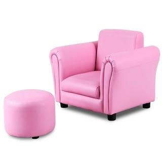 Costway Pink Kids Sofa Armrest Chair Couch Children Toddler Birthday Gift w/ Ottoman