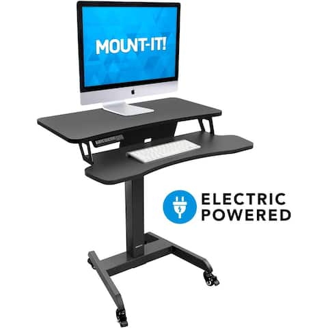 Mount-It! Electric Mobile Height Adjustable Standing Workstation with Wheels