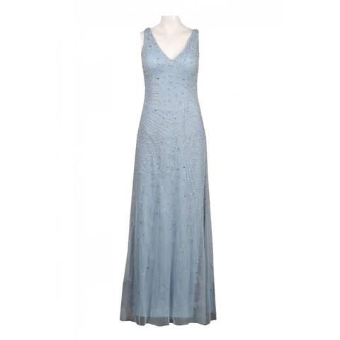 Adrianna Papell Sleeveless Illusion Back Cutout Beaded Mesh Overlay Dress
