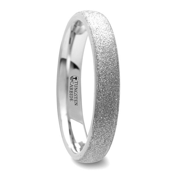 THORSTEN - QUARTZ Domed Tungsten Carbide Ring with Sandblasted Crystalline Finish - 4mm