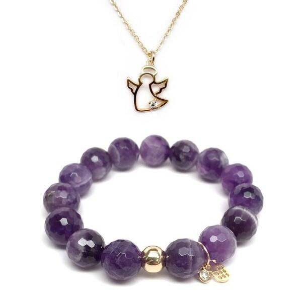 Purple Amethyst Bracelet & CZ Angel Gold Charm Necklace Set