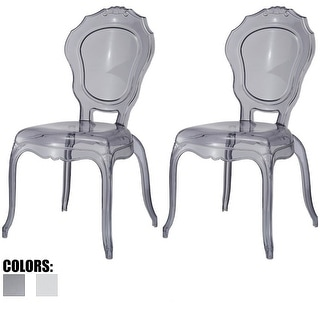2xhome   Set Of 2 Smoke Plastic Chairs Side Chairs Dining Chair Modern  Transparent   N